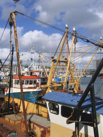 plymouth: Closeup of Fishing Boats in Plymouth Harbour in England