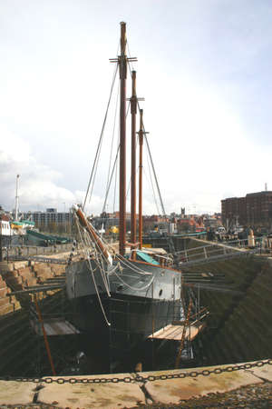Old Sailing Ship in Liverpool Dry Dock photo