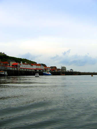 whitby: Whitby Harbour in Yorkshire Stock Photo