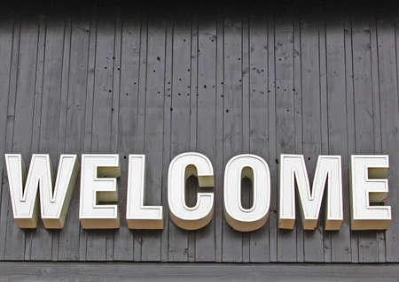 welcome sign: Bienvenue signer � l'entr�e de la galerie marchande  Banque d'images