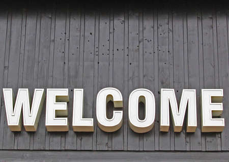 Welcome Sign at Entrance to Shopping Mall photo