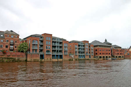ouse: Modern Apartments on the River Ouse in York UK Stock Photo
