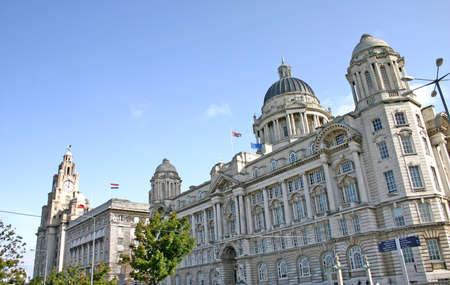 corner clock: Liver Building in Liverpool England UK