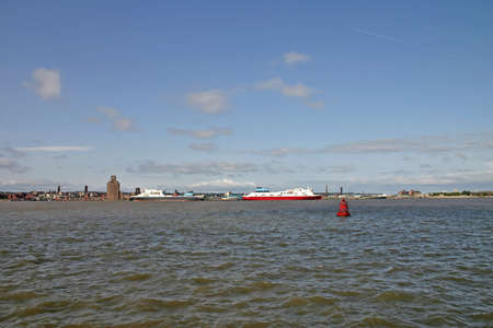 mersey: Cargo Ferry Ships on the River Mersey in Liverpool England UK