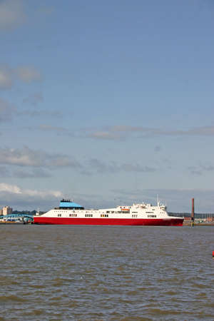 mersey: Cargo Ferry Ship on the River Mersey in Liverpool England UK Stock Photo