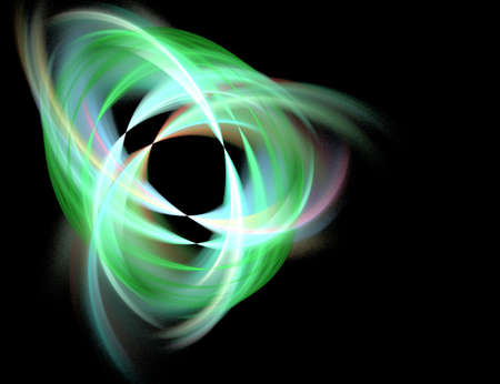 nested: Abstract Green Nested Shape on Black Background