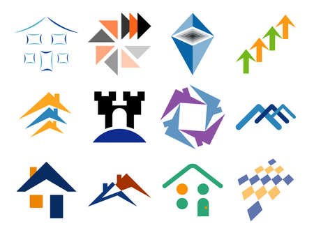 construction logo: Building and Home Themed Vector Logo Design Elements Illustration
