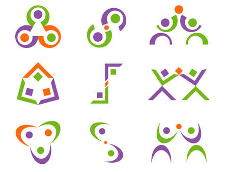 set goal: Three Color Business Person Related Abstract Vector Logo Design Elements