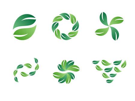 Environmental Green Leaf Vector Logo Design Elements  Stock Vector - 5521259