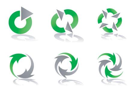 logo reciclaje: Verde y gris, reciclaje de elementos de dise�o de logo
