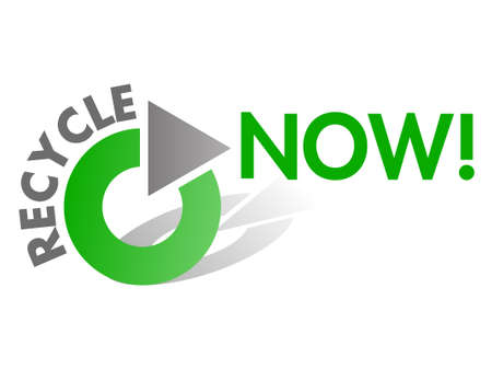 Recycle NOW  Design Element in Green and Grey photo