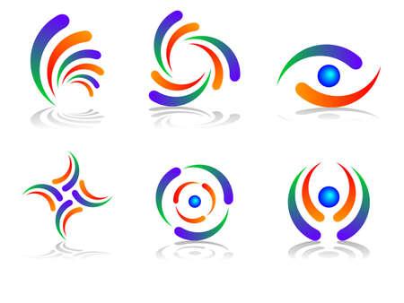 globe logo: Colourful and Abstract Logo Design Set