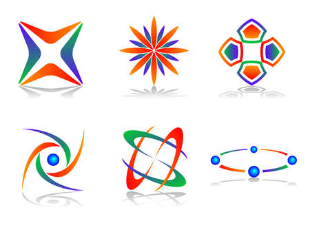 globe logo: Colourful and Abstract  Logo Icon Design Element Set