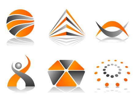 sign orange: Orange and Grey Abstract  Logo Icon Design Element Set Stock Photo