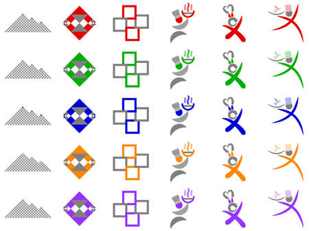 Chef and Abstract Squares  Logo Icon Design Element Set Stock Photo - 6276205