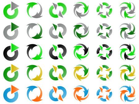 Green Environmental Recycling Logo Design Elements Set photo