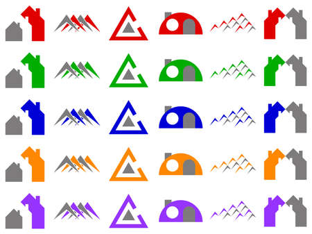 Houses and Construction Logo Icon Design Element Set Stock Photo - 6276201