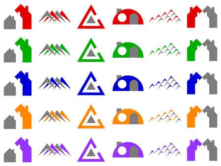 Houses and Construction Logo Icon Design Element Set Stock Photo - 6276201