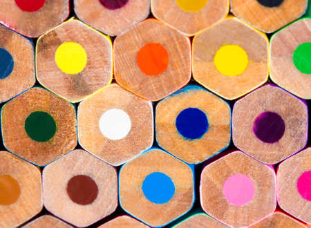 pencil drawings: Colorful wooden pencils. Selective depth of field