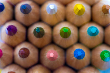 supplies: Colorful wooden pencils. Selective depth of field