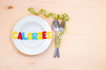 Calories word on the plate. A low-calorie diet for weight loss