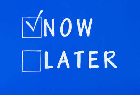 later: Now and Later Stock Photo