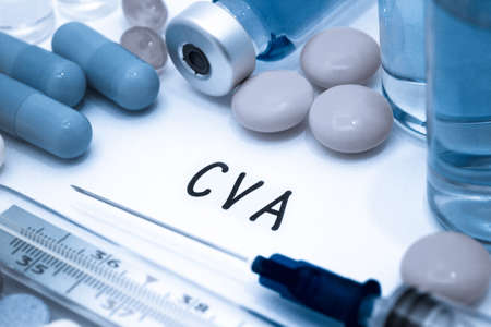 cva: CVA - diagnosis written on a white piece of paper. Syringe and vaccine with drugs.
