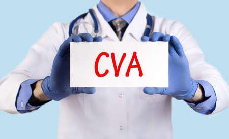 cva: Doctor keeps a card with the name of the diagnosis � cva. Selective focus. Medical concept.