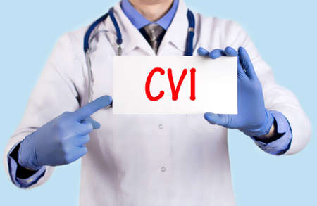 cva: Doctor keeps a card with the name of the diagnosis – cvi. Selective focus. Medical concept.
