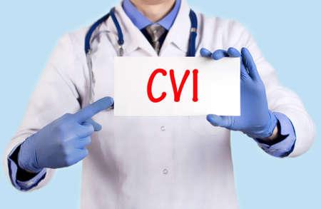 cva: Doctor keeps a card with the name of the diagnosis � cvi. Selective focus. Medical concept. Stock Photo