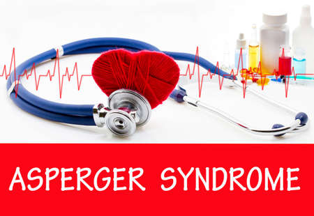 asperger syndrome: The diagnosis of asperger syndrome. Phonendoscope and vaccine with drugs. Medical concept.