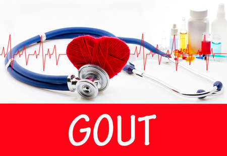 gout: The diagnosis of gout. Phonendoscope and vaccine with drugs. Medical concept.