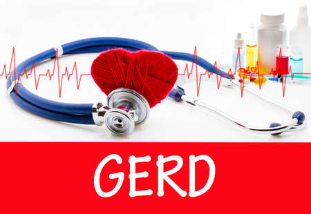 sphincter: The diagnosis of gerd. Phonendoscope and vaccine with drugs. Medical concept.
