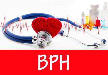 prostatic: The diagnosis of bph. Phonendoscope and vaccine with drugs. Medical concept. Stock Photo