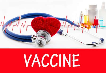 inoculate: Vaccine. Phonendoscope and vaccine with drugs. Medical concept.