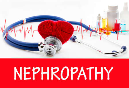 nephron: The diagnosis of nephropathy. Phonendoscope and vaccine with drugs. Medical concept. Stock Photo