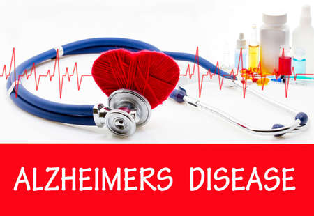 losing memories: The diagnosis of alzheimers disease. Phonendoscope and vaccine with drugs. Medical concept.