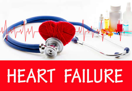 The diagnosis of heart failure. Phonendoscope and vaccine with drugs. Medical concept.