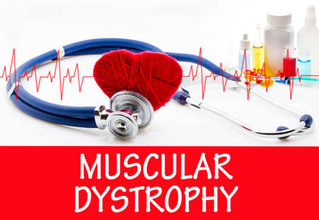 myopathy: The diagnosis of muscular dystrophy. Phonendoscope and vaccine with drugs. Medical concept.
