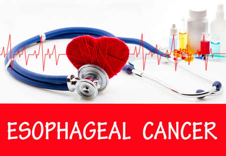 endoscopic: The diagnosis of esophageal cancer. Phonendoscope and vaccine with drugs. Medical concept.
