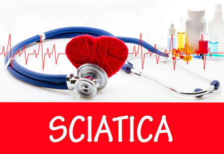 sacral nerves: The diagnosis of sciatica. Phonendoscope and vaccine with drugs. Medical concept.