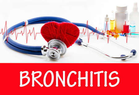 bronchus: The diagnosis of bronchitis. Phonendoscope and vaccine with drugs. Medical concept. Stock Photo