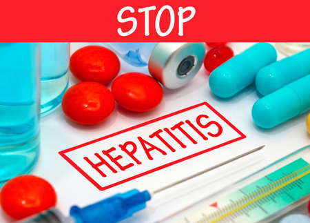 polymerase: Stop hepatitis. Vaccine to treat disease. Syringe and vaccine with drugs.