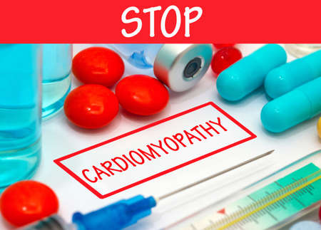 injection valve: Stop cardiomyopathy. Vaccine to treat disease. Syringe and vaccine with drugs. Stock Photo