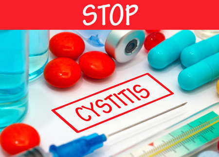 cystitis: Stop cystitis. Vaccine to treat disease. Syringe and vaccine with drugs.