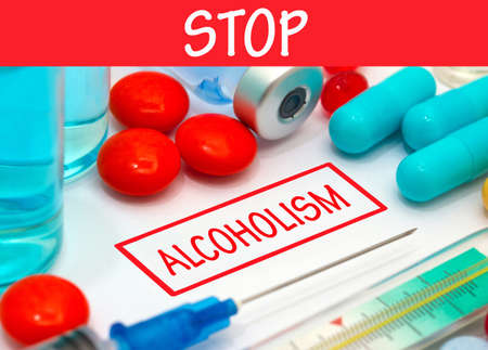 alcoholism: Stop alcoholism. Vaccine to treat disease. Syringe and vaccine with drugs.