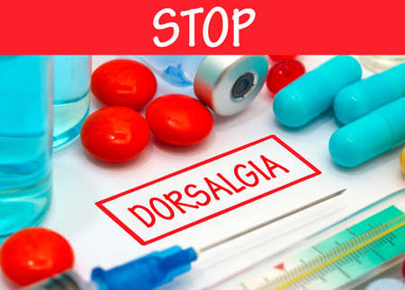 dorsalgia: Stop dorsalgia. Vaccine to treat disease. Syringe and vaccine with drugs. Stock Photo