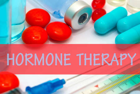 vaccine therapy: hormone therapy. Vaccine to treat disease. Syringe and vaccine with drugs.