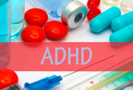 inattention: adhd. Vaccine to treat disease. Syringe and vaccine with drugs.
