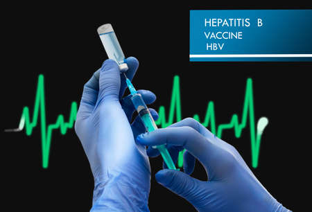 polymerase: Stop Hepatitis B (HBV). Vaccine to treat disease. Syringe and vaccine with drugs.